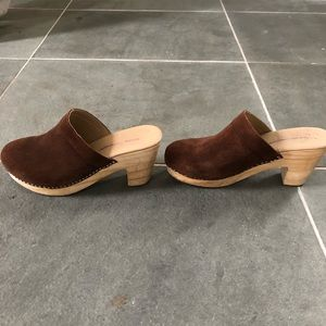 Free People Brown Suede Wood Clog Size 39